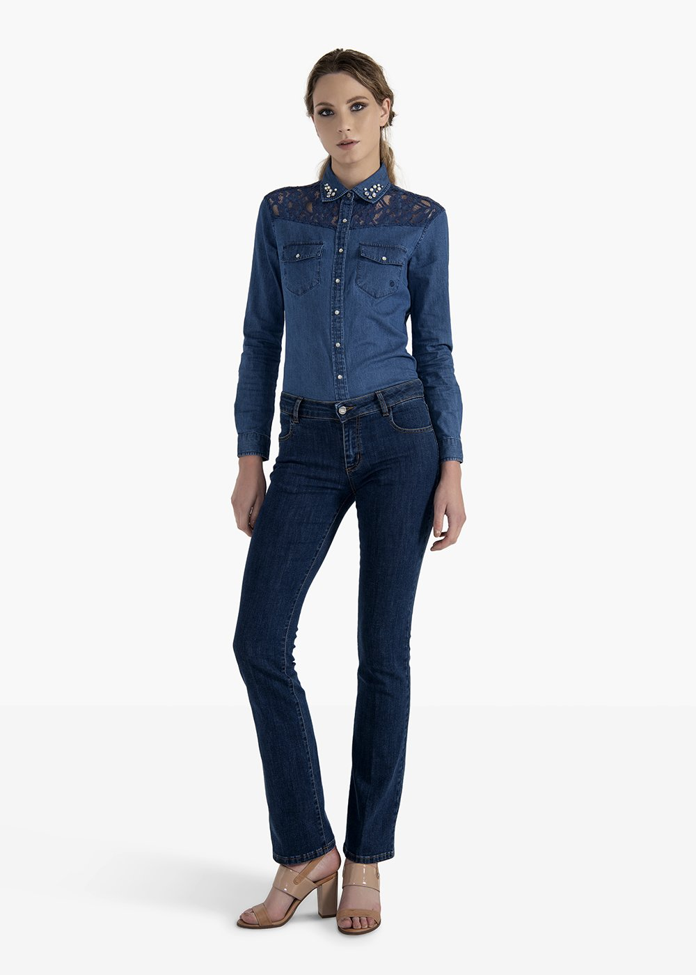 Jeans a zampa Cindy con impunture color tobacco - Dark Denim - Donna