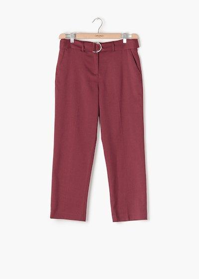 Pantaloni Portos in poliviscosa con gamba slim e cintura doppia fibbia