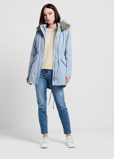 Quilted parka with faux-fur hood
