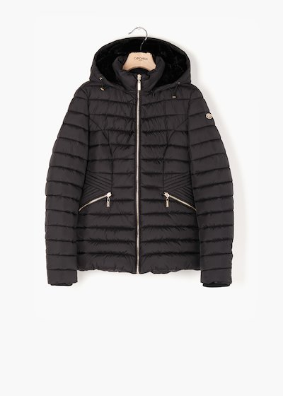 Quilted jacket George with hood in eco fur