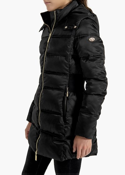 Long quilted jacket Palmer with hood and elastic band on tha back