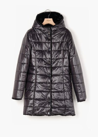 Reversible Preston quilted  jacket in shiny fabric and eco-fur