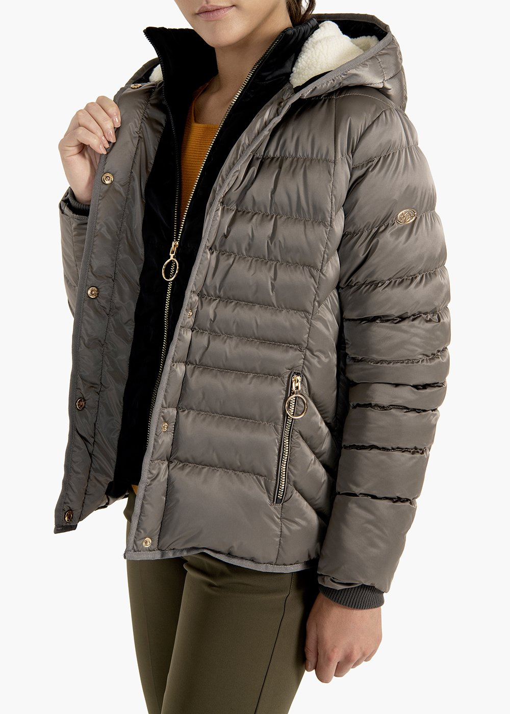 Jacket Gregory in satin effect fabric - Putty - Woman