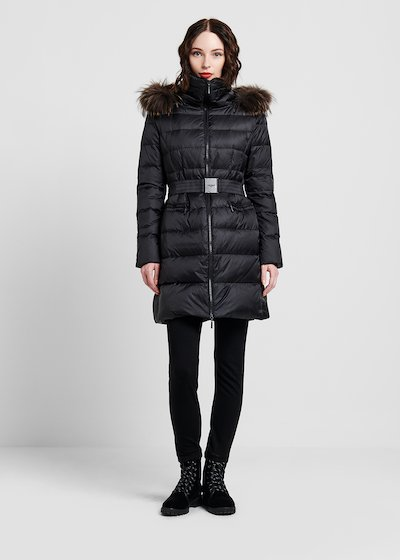 Long down jacket in goose down with belt
