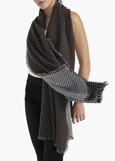 Jacquard scarf Sabin with white dots fantasy