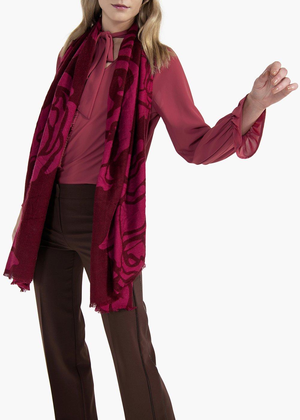 Bicolor roses print scarf Selmar - Magnolia Fantasia - Woman