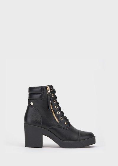 Shay black combat boots