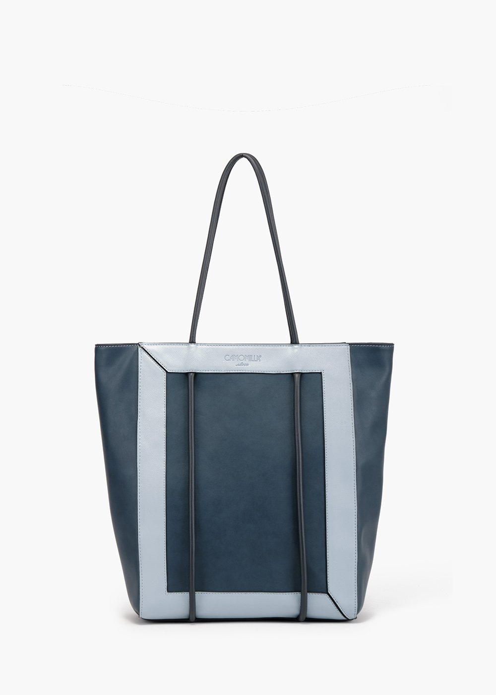 Bedey shopping bag with tubular handle - Medium Blue / Fog - Woman