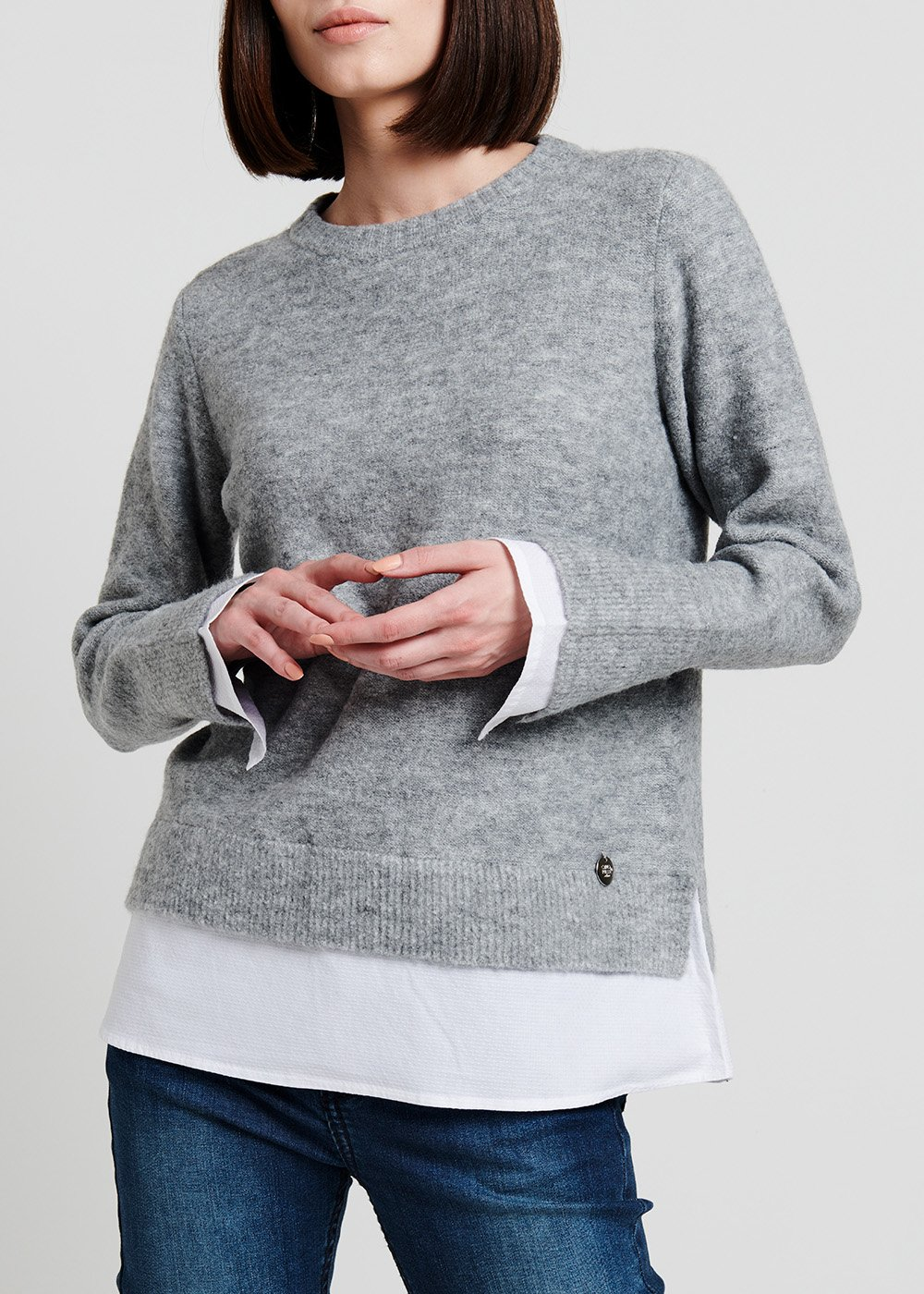 Crewneck melange grey sweater - Medium Grey - Woman