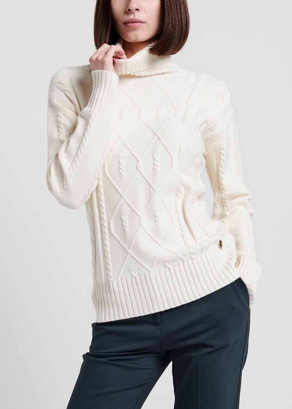 Turtleneck sweater in raw viscose - Grey - Woman