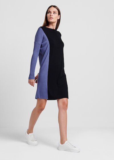 Knit dress in two-tone viscose