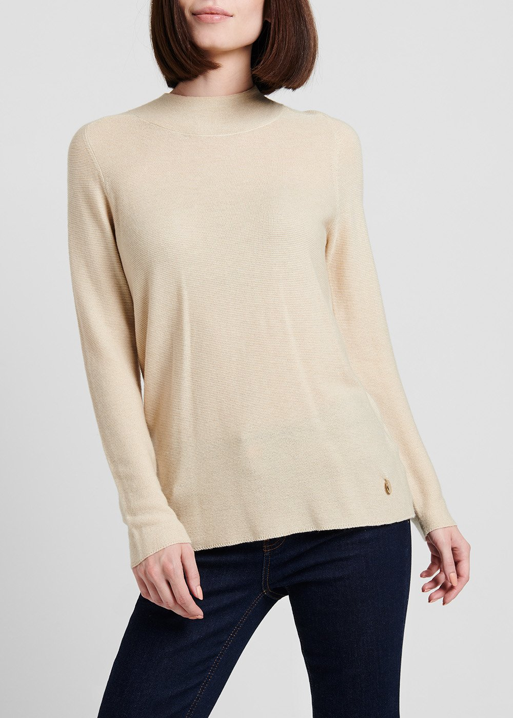 Narrow-ribbed round-neck sweater - Light Beige - Woman