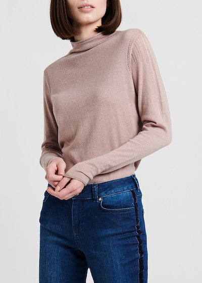 Sweater with wool with crater neck, solvent – coloured