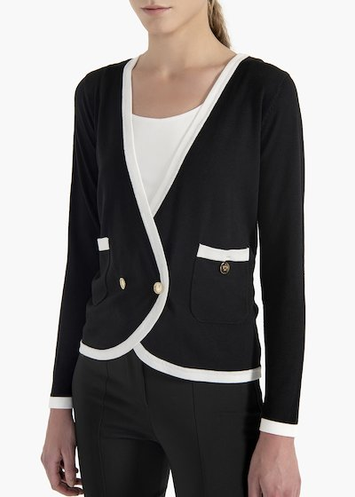 Cardigan Coryl con scollo a V e bottoni light gold
