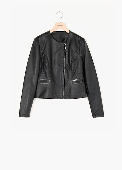 Jacket in faux leather Charlie with asymmetrical zip