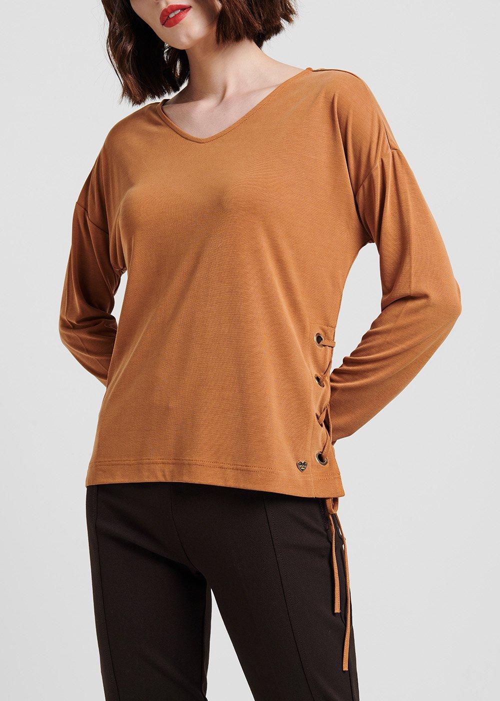 T-shirt Shery scollo a V - Sughero - Donna