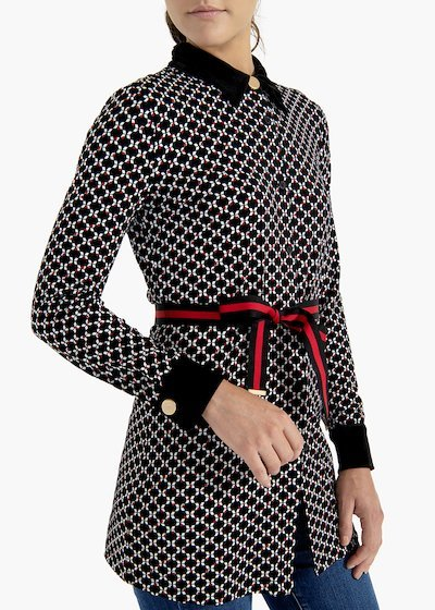 T-shirt Sabrin in micro geometric pattern viscose jersey
