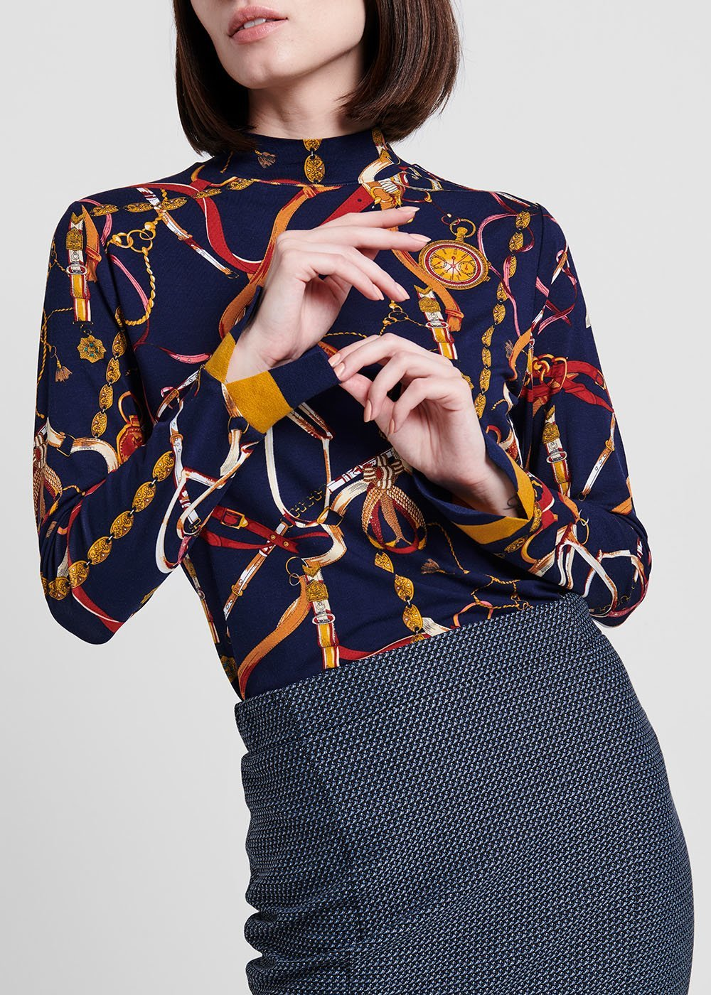 Viscose T-shirt with chain print - Medium Blue /  Passione /  Fantasia - Woman
