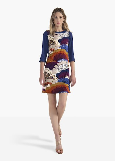 Adrian dress in viscose jersey with crepe sleeves