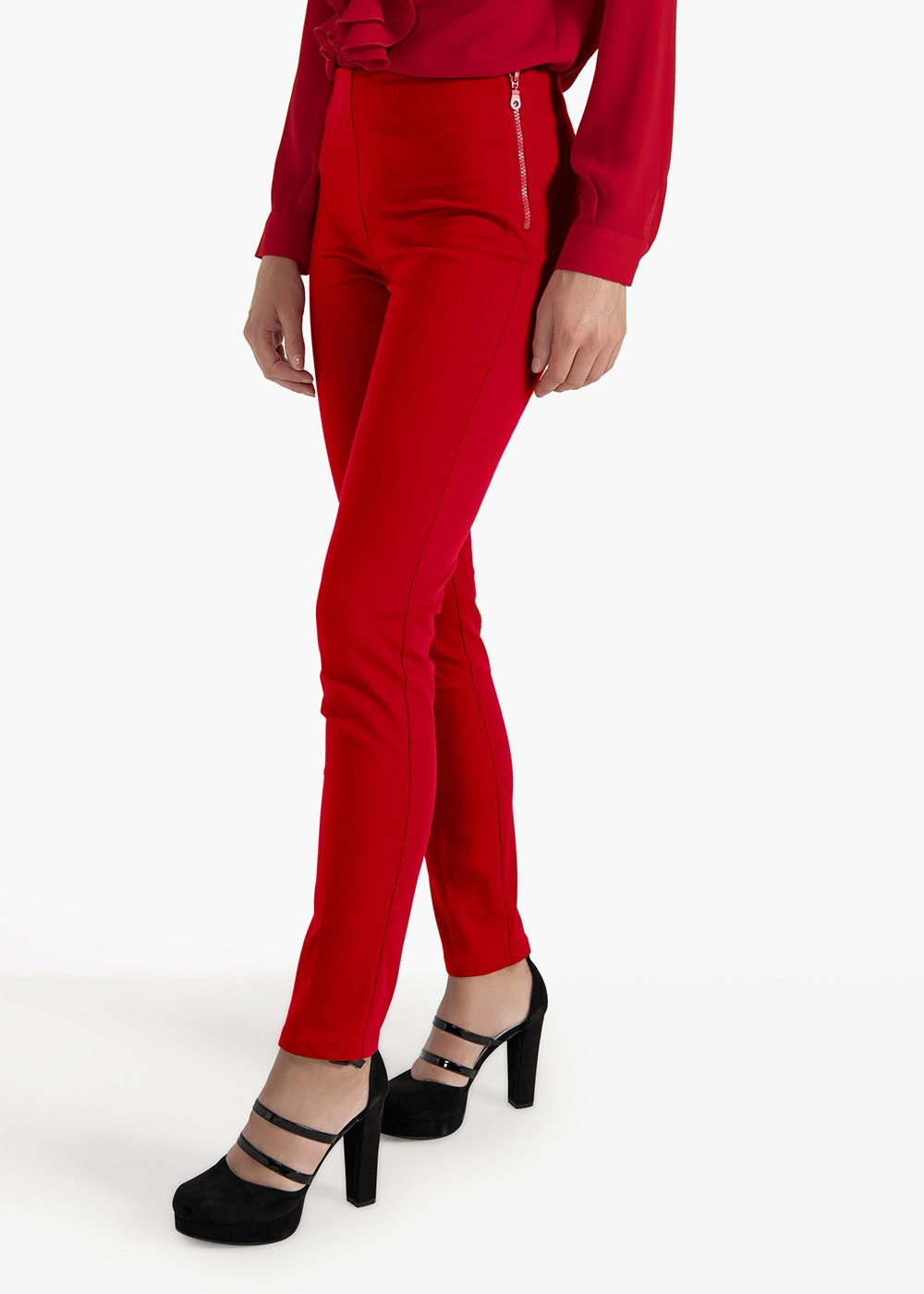 Claudia pants in technical fabric with side zip - Red - Woman