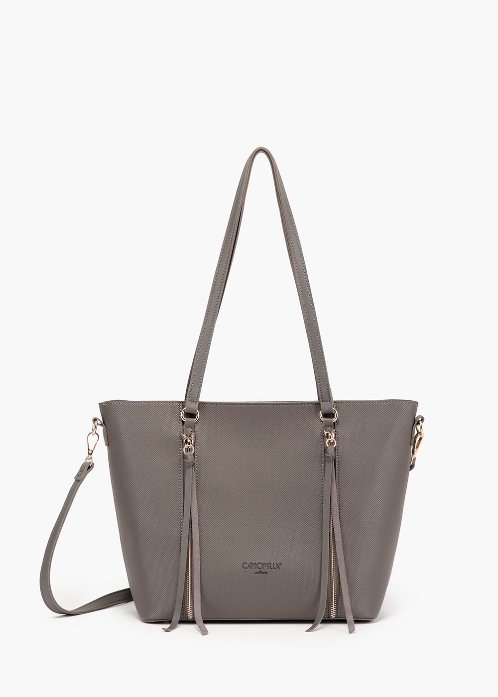 Brigy shopping bag in eco leather with double zip detail