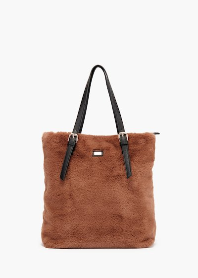 Shopping bag Buly in eco-fur and faux leather inserts