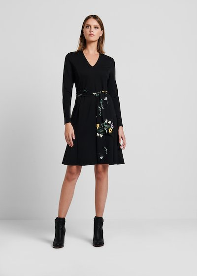 Jersey dress with floral printed belt