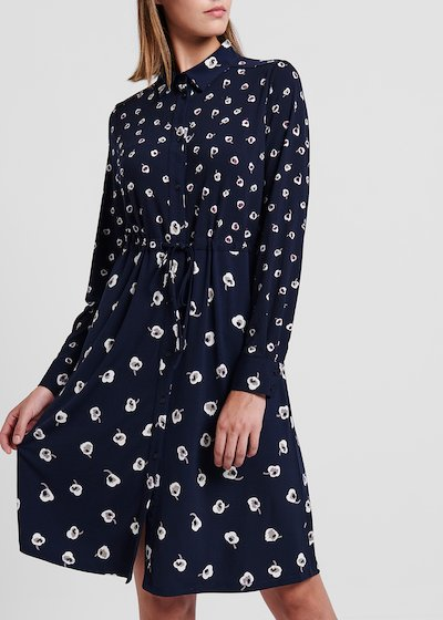 Floral printed jersey dress with waist drawstring
