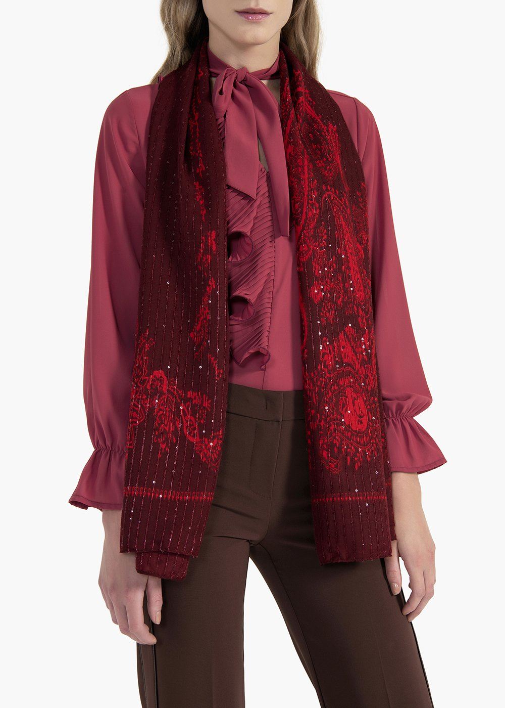 Cashmere scarf Strain and scrip printed with sequins - Bordeaux /   Passione Fantasia - Woman