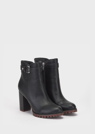 Seed faux-leather ankle boots