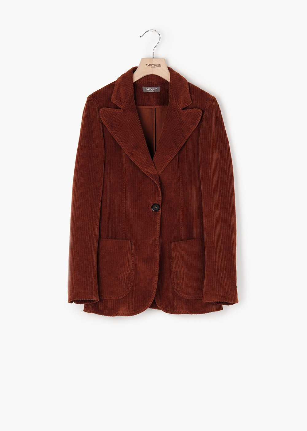 Greta velvet jacket with lapel - Brown - Woman