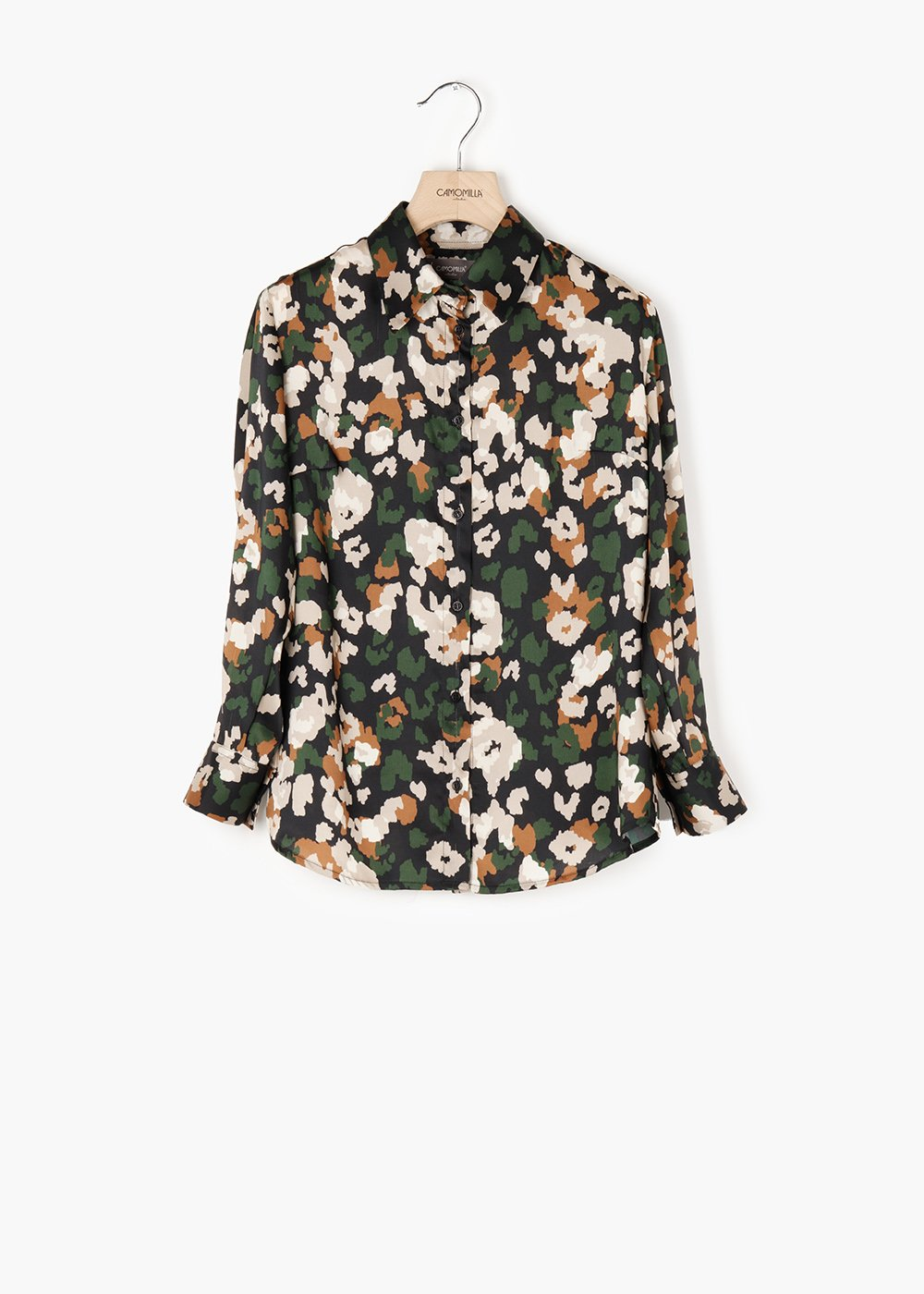 Alessia blouse with collar and buttons - Black / Pino Animalier - Woman