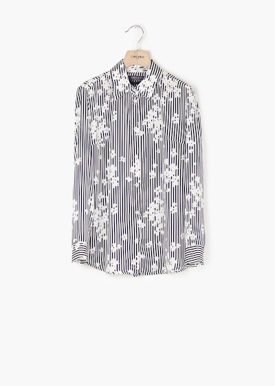 Alessia blouse with striped and flower print