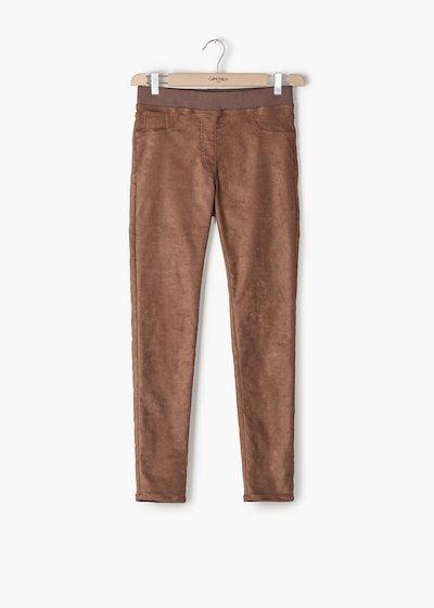 Pantaloni Kelly in eco daino con elastico in tono