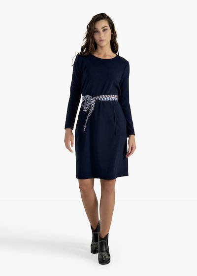 Amos crêpe dress with fancy belt