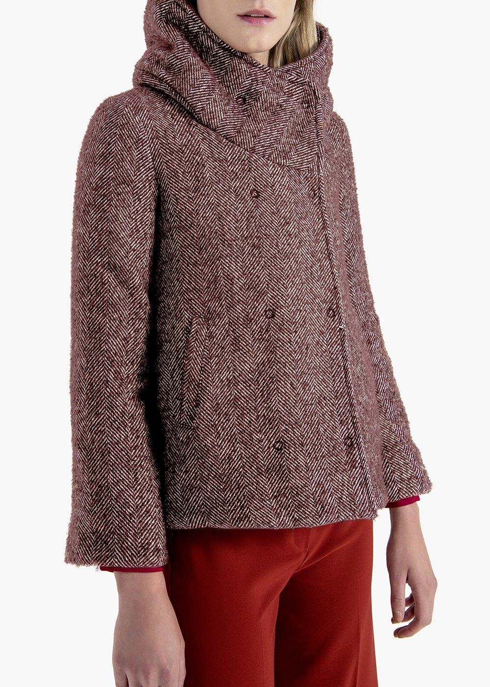 Chaps short coat in herringbone fabric - Bordeaux / Grezzo / Fantasia - Woman