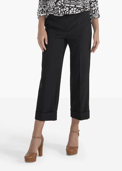 Pantaloni Sara in tessuto tecnico con risvolto al fondo