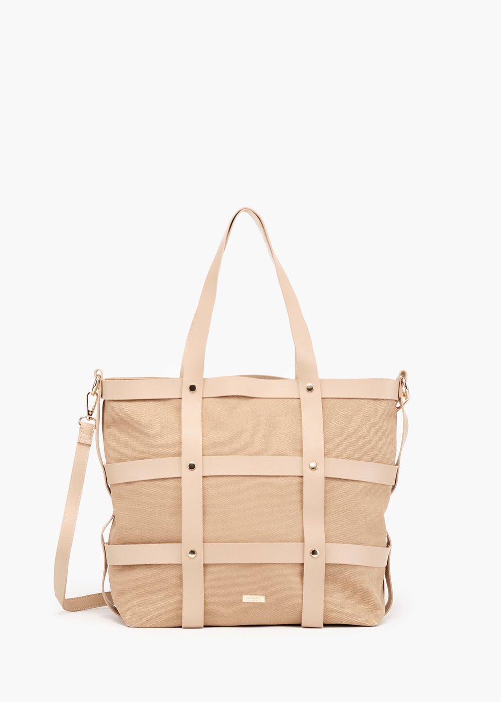Bjor Shopping bag cage model with micro studs detail - Safari - Woman