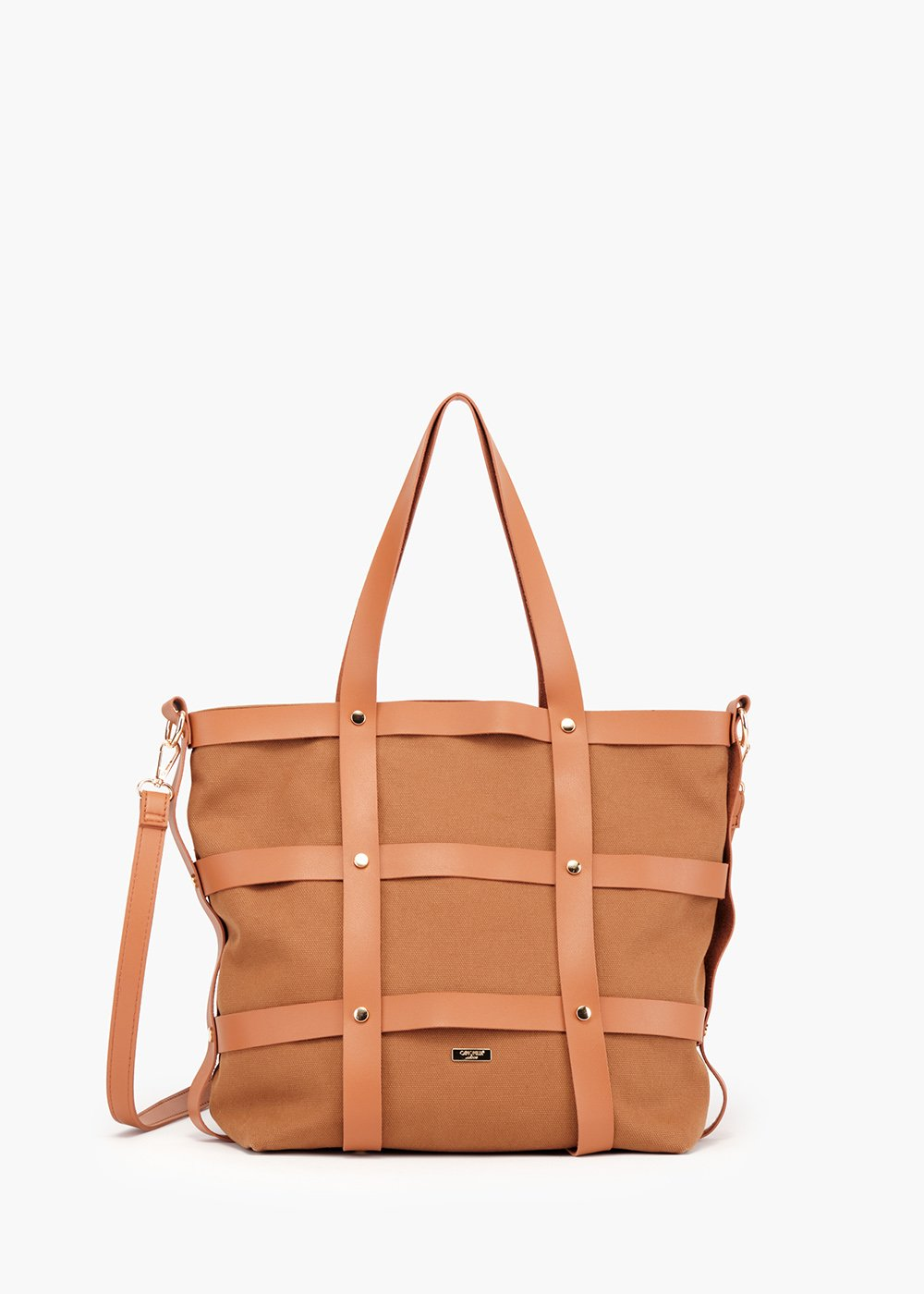 Bjor Shopping bag cage model with micro studs detail - Sughero - Woman