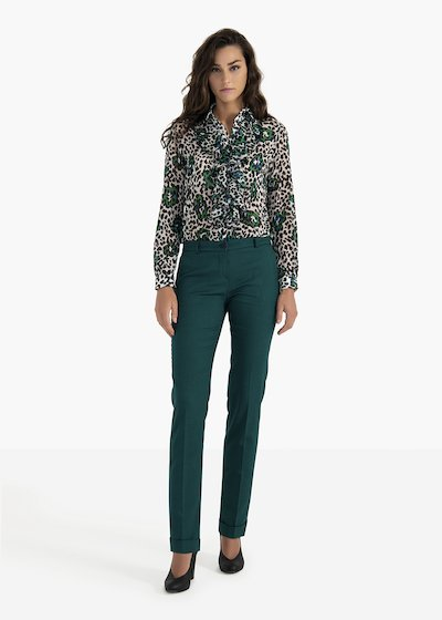 Bella trousers in poly-viscose fabric with micro pied de poule pattern