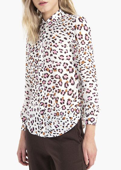 Alessia blouse with collar and spotted print