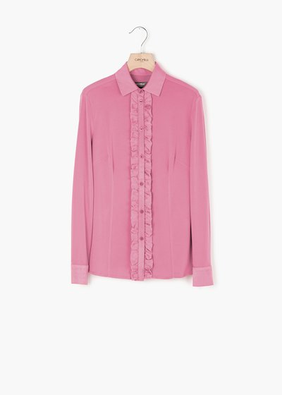 Samuela blouse with satin effect with crepe collar