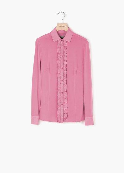 Camicia Samuela effetto raso con colletto in crêpe