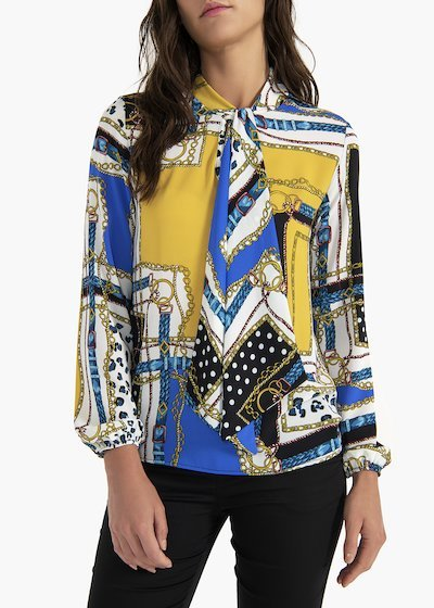 Sandie georgette blouse with scarf neckline