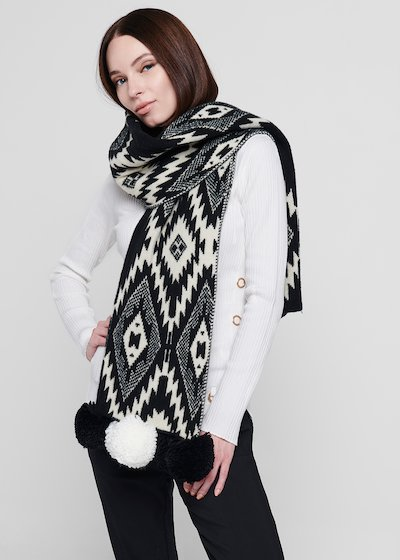 Shirley scarf with ethnic print and pompon at the bottom