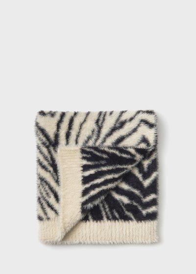Maxi zebra print fur scarf