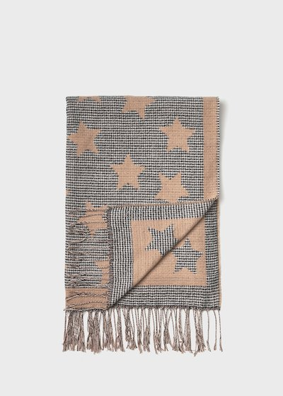 Powder-coloured maxi scarf with lurex stars