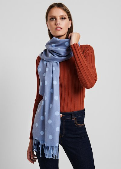 Scarf with material - coloured polka dot pattern
