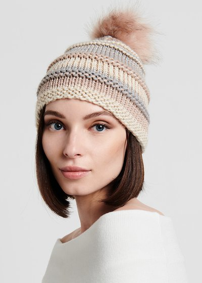 Striped hat with pom-pom