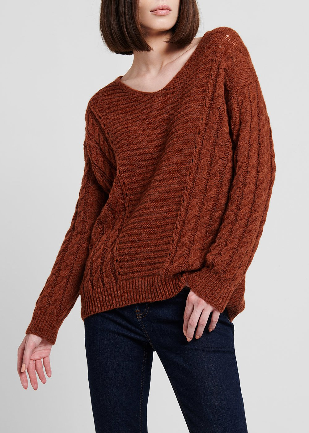 Rust - coloured wool sweater - Ruggine - Woman